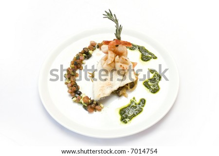 Fish with shrimps