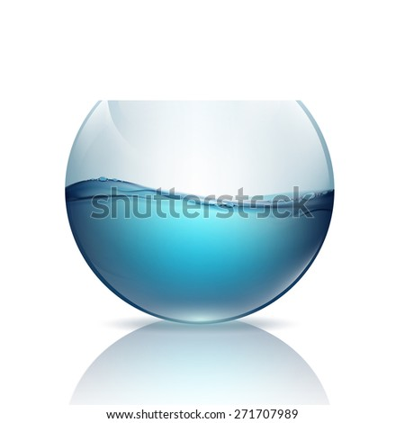 fishbowl with water isolated on a white background - stock photo