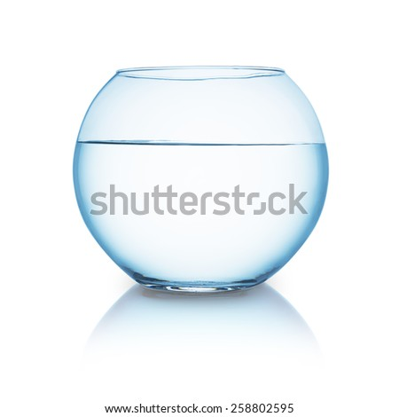 fishbowl with water isolated on white background - stock photo