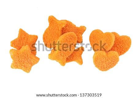Fishcakes isolated on white - stock photo
