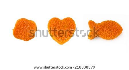 Fishcakes set isolated on white  - stock photo