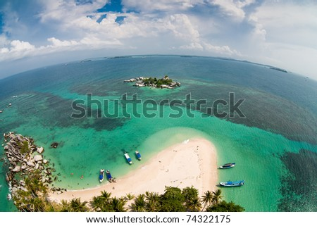 Fishe-eye photo of the beach on Langkuas island, Indonesia - stock photo