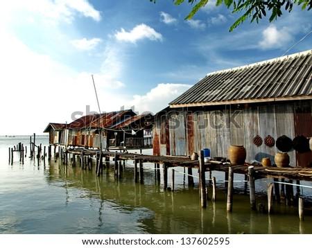 fisher man village - stock photo