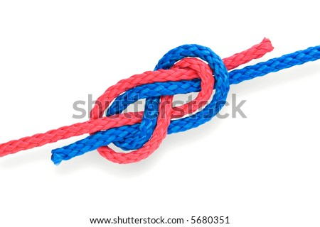 Fisher's figure-eight knot with red and blue ropes. Isolated on white. - stock photo