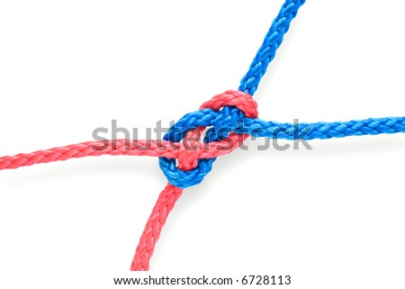 Fisher's plane knot with red and blue ropes. Isolated on white. Tight. - stock photo