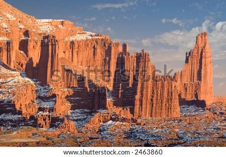 Fisher Towers near Moab, Utah - stock photo