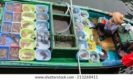 fisher woman  on the boats try to sell the harvest to tourists in Sai Kung.There is a typhoon shelter which motorized junks used in local tourist trade now are moored.  - stock photo