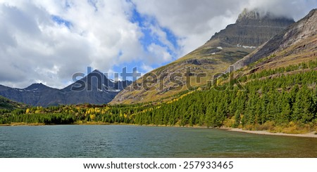Fishercap Lake in Many Glacier an Area of Glacier National Park, Montana. - stock photo