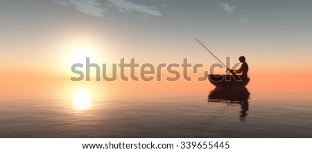 fisherman and fishing boat floating in the sea
