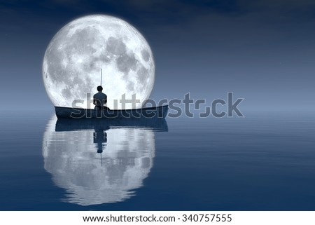 fisherman and fishing boat floating in the sea - stock photo