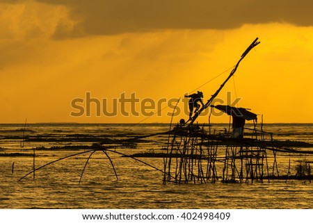 fisherman asia morning light