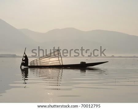 Fisherman at Inle lake, Myanmar / Burma - stock photo