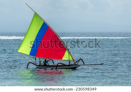 fisherman boat in Bali - stock photo