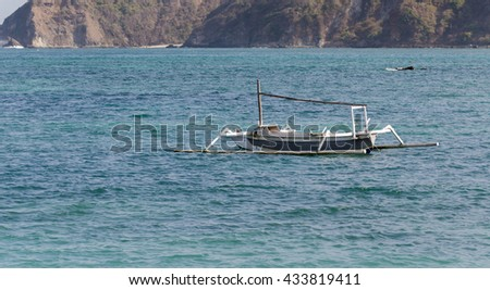 Fisherman boat in the sea, Lombok, Indonesia