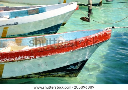Fisherman boat mexico - stock photo