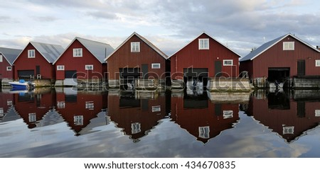 Fisherman cabins on the Swedish east coast in Sweden - stock photo
