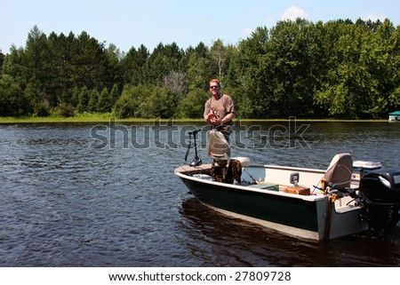fisherman casting from a boat on a freshwater lake
