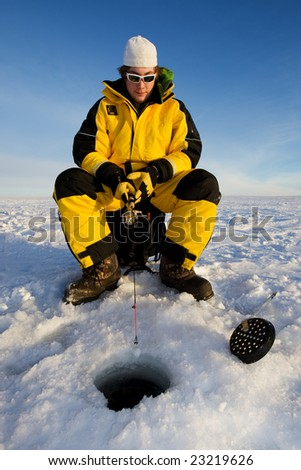 Fisherman enjoying a day on the ice