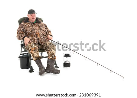 Fisherman fishing with rod sitting in chair isolated over white background - stock photo