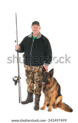 Fisherman fishing with rod standing with his dog isolated over white background - stock photo