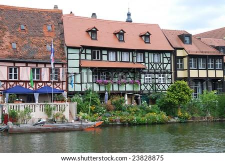 Fisherman houses in Little Venice (Klein-Venedig) at the river Regnitz (Bamberg Germany) - stock photo