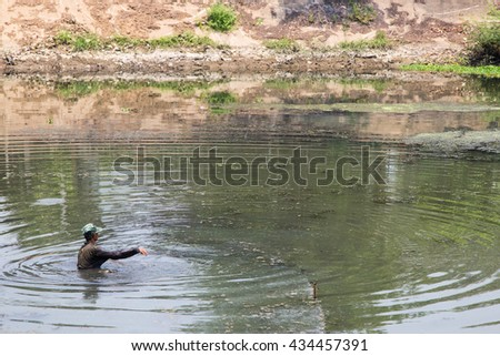 Fisherman in Ping River in Lampang City Thailand