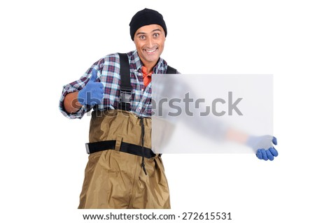 Fisherman isolated in white wit a blank board - stock photo