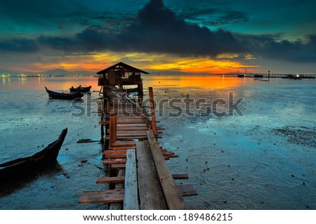 Fisherman jetty at Jelutong, Penang - stock photo