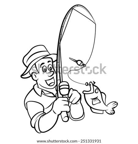 Coloring Book Fisherman Cartoon Character Vector Stock