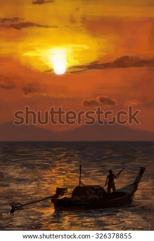 Fisherman on boat in the sea at morning sunrise