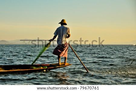 Fisherman on Inle lake, Burma - stock photo