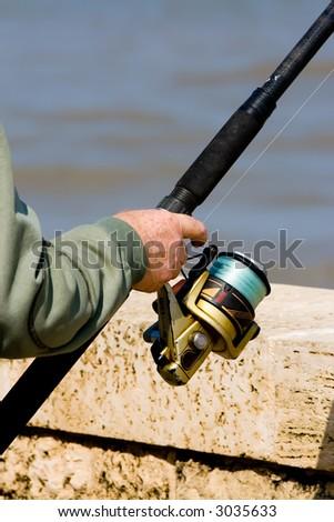 Fisherman on the Mediterranean Coast. - stock photo