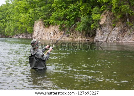 Fisherman pulls caught salmon from the river.