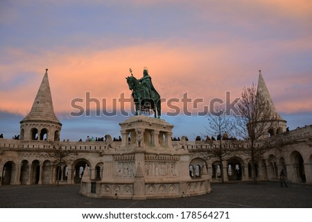 Fisherman's Bastion and the statue of Stephen I of Hungary by sunset