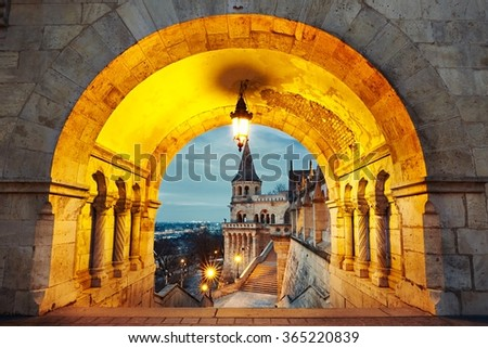 Fisherman's Bastion - dawn in Budapest, Hungary - stock photo
