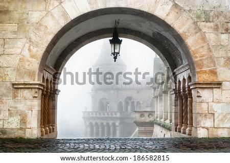 Fisherman's bastion in Buda palace, Budapest Hungary. - stock photo