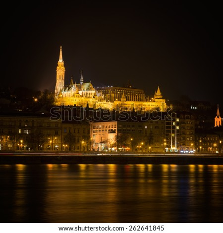 Fisherman's Bastion in Budapest at night