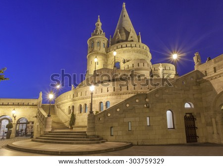 Fisherman's Bastion in Budapest - Hungary at night