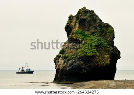 fisherman's boat, Sakhalin island - stock photo