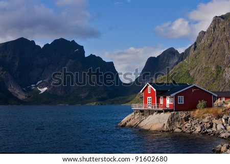 fisherman's house on lofoten islands - stock photo