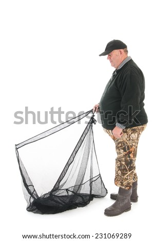 Fisherman standing full body with fishing net isolated over white background - stock photo