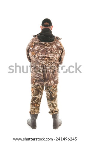 Fisherman standing isolated over white background - stock photo