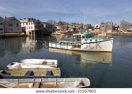 Fisherman town of Rockport on Massachusetts coast - stock photo