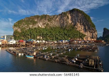 Fisherman village at Panyi island, Phang-nga, Thailand - stock photo