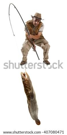 Fisherman with big fish - burbot, codfish (Lota lota) isolated on white - stock photo