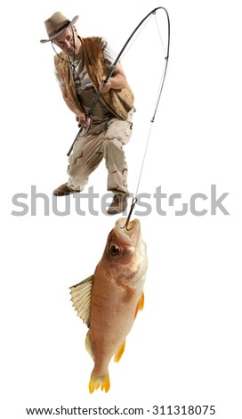 Fisherman with big fish - perch (Perca fluviatilis) isolated on white - stock photo