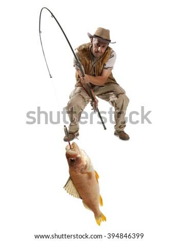 Fisherman with big fish - perch (Perca fluviatilis) isolated on white - stock photo