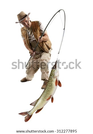 Fisherman with big fish - Pike (Esox Lucius) isolated on white - stock photo