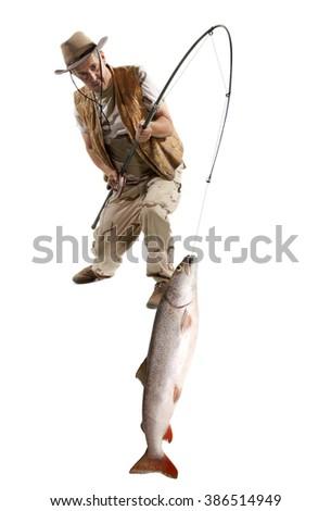 Fisherman with big fish - salmon isolated on white - stock photo
