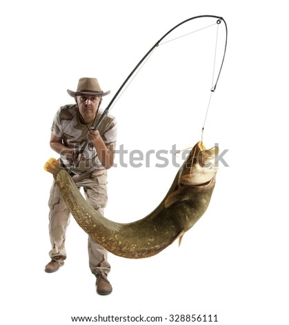 Fisherman with big river catfish isolated on white - stock photo